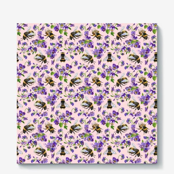 Холст «Шмели, пчёлы, насекомые, фиалки, виолы, анютины глазки, розовый фон»