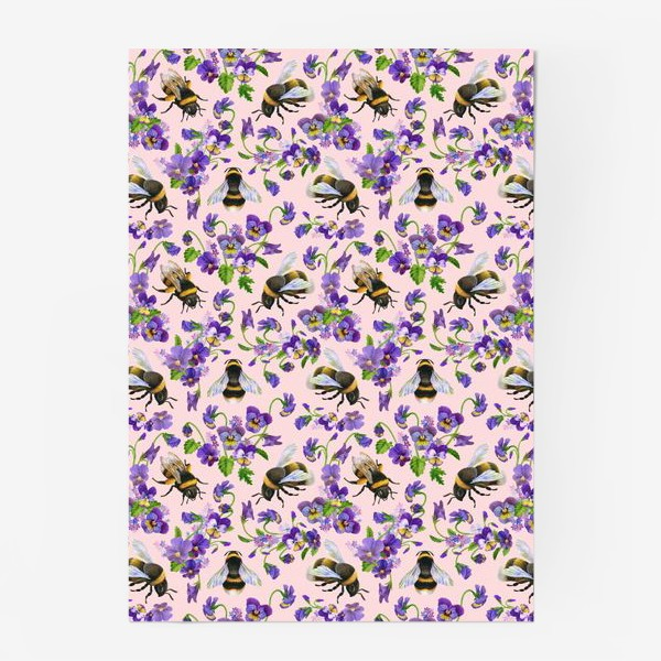Постер «Шмели, пчёлы, насекомые, фиалки, виолы, анютины глазки, розовый фон»