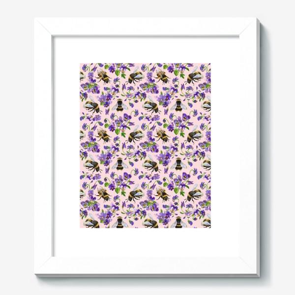 Картина «Шмели, пчёлы, насекомые, фиалки, виолы, анютины глазки, розовый фон»