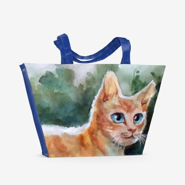 Пляжная сумка «Рыжий котя на полянке»