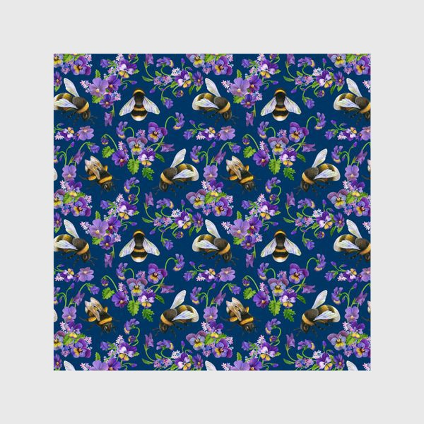 Шторы «Шмели, пчёлы, фиалки, виолы, анютины глазки на синем фоне»
