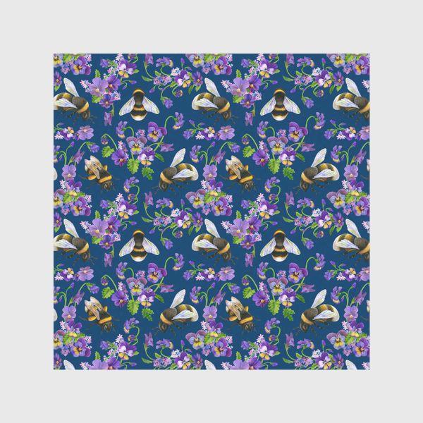 Скатерть «Шмели, пчёлы, фиалки, виолы, анютины глазки на синем фоне»