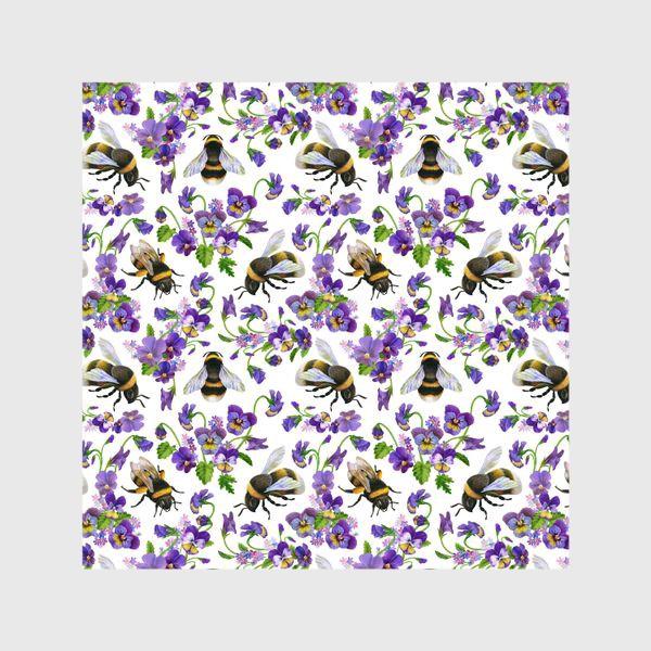 Шторы «Шмели, пчёлы, насекомые, фиалки, виолы, анютины глазки, белый фон»