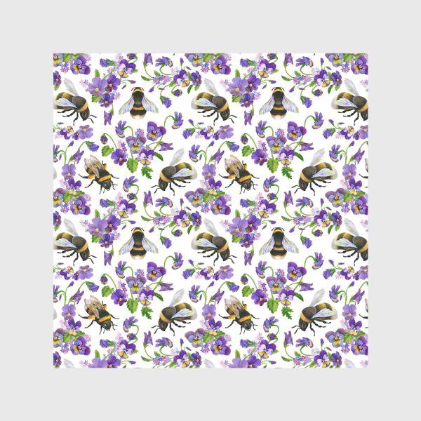 Скатерть «Шмели, пчёлы, насекомые, фиалки, виолы, анютины глазки, белый фон»