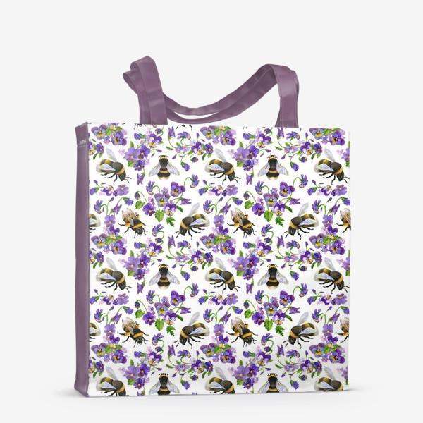 Сумка-шоппер «Шмели, пчёлы, насекомые, фиалки, виолы, анютины глазки, белый фон»