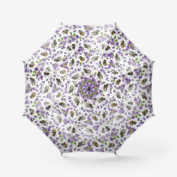 Зонт «Шмели, пчёлы, насекомые, фиалки, виолы, анютины глазки, белый фон»