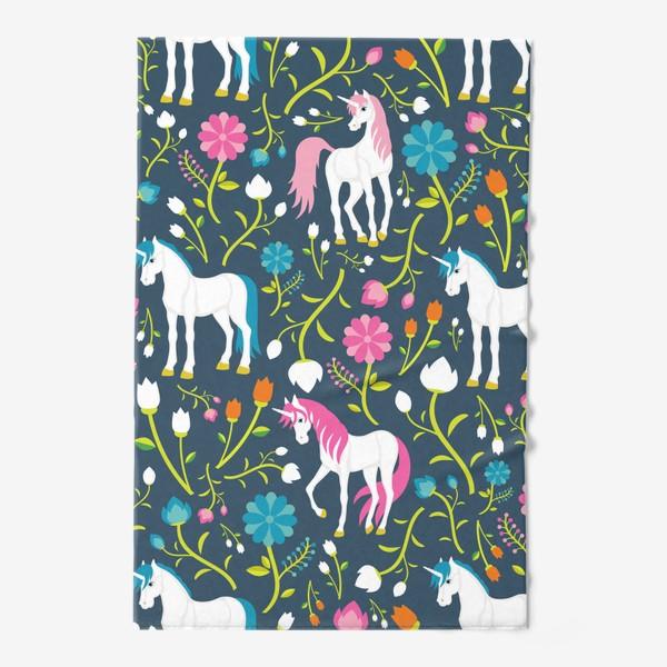 Полотенце «Разноцветные единороги и цветы»
