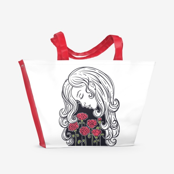 Пляжная сумка «Гвоздики»