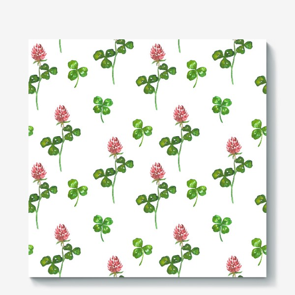 Холст «Pattern With Watercolor Clover»