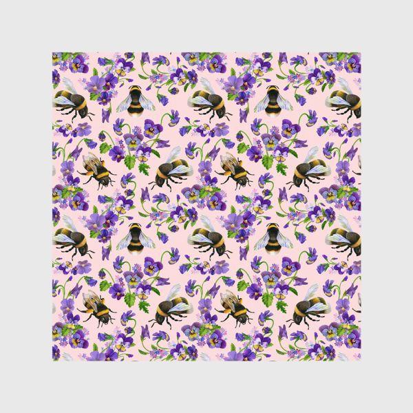 Шторы «Шмели, пчёлы, насекомые, фиалки, виолы, анютины глазки, розовый фон»