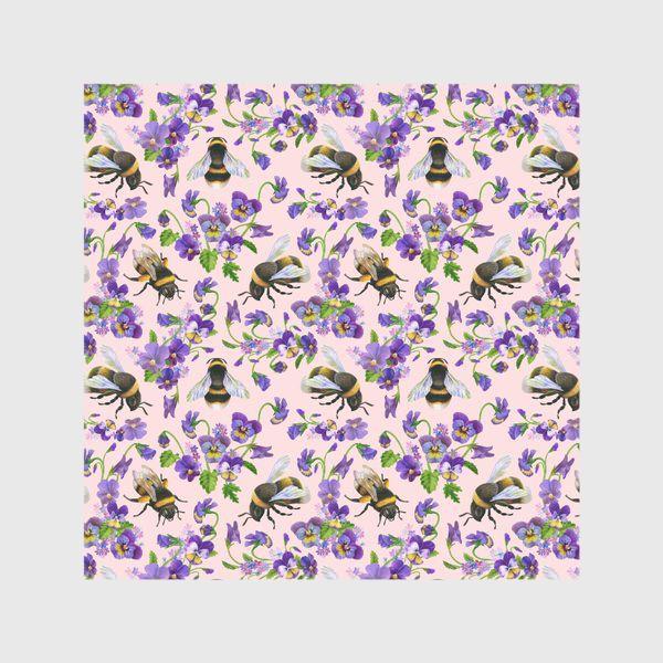 Скатерть «Шмели, пчёлы, насекомые, фиалки, виолы, анютины глазки, розовый фон»