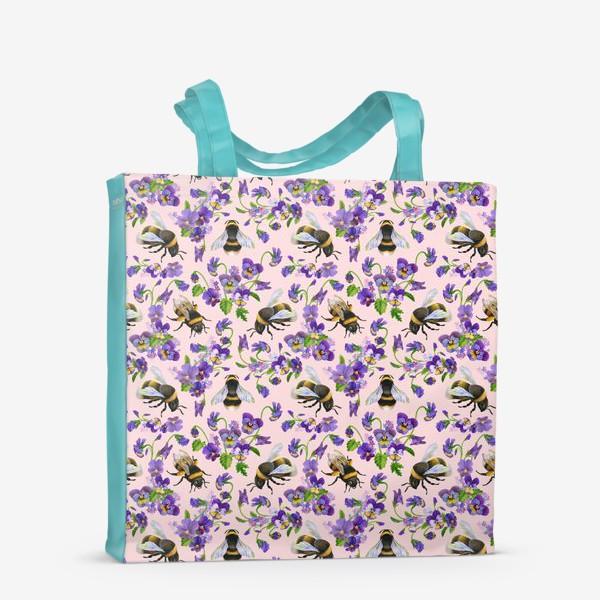 Сумка-шоппер «Шмели, пчёлы, насекомые, фиалки, виолы, анютины глазки, розовый фон»