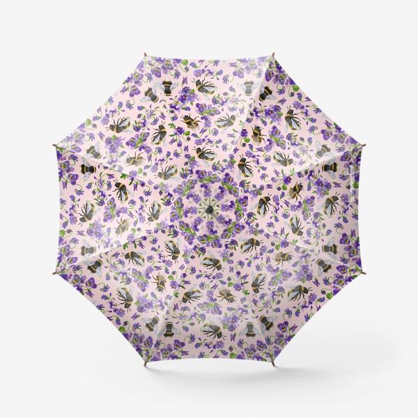 Зонт «Шмели, пчёлы, насекомые, фиалки, виолы, анютины глазки, розовый фон»