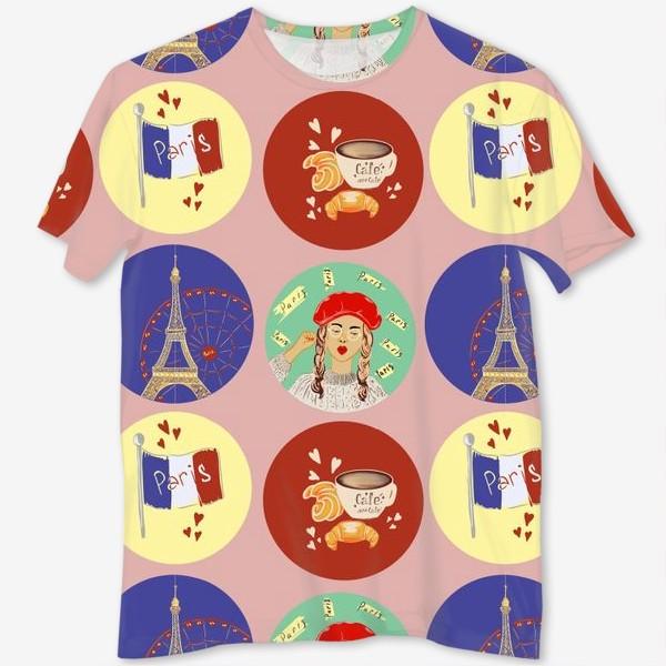 Футболка с полной запечаткой «Франция, Париж, круассан»