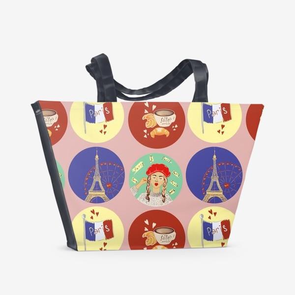 Пляжная сумка «Франция, Париж, круассан»