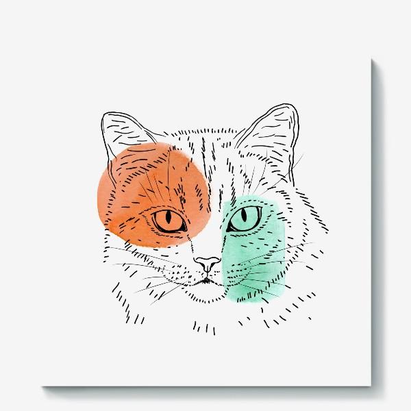 Холст «Акварельная кошка. Оранжевый и бирюзовый»