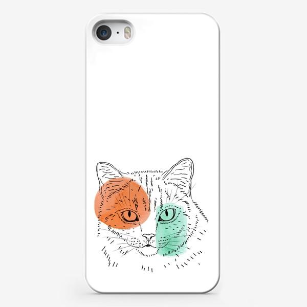 Чехол iPhone «Акварельная кошка. Оранжевый и бирюзовый»