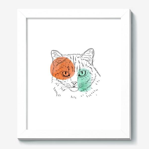 Картина «Акварельная кошка. Оранжевый и бирюзовый»