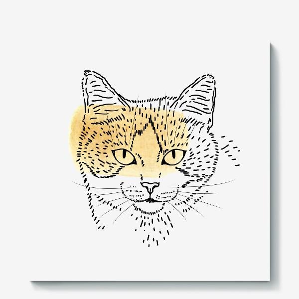 Холст «Акварельная кошка. Бежевая акварель»