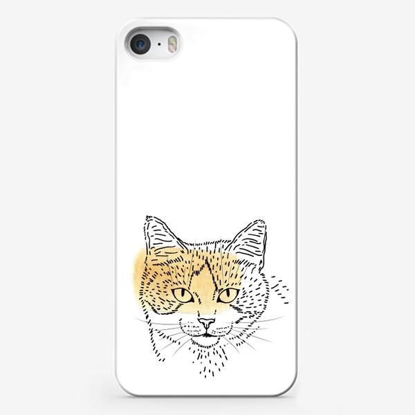 Чехол iPhone «Акварельная кошка. Бежевая акварель»