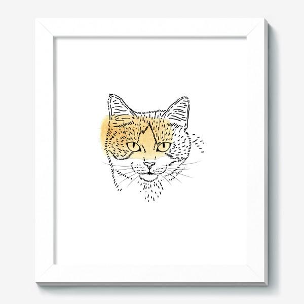 Картина «Акварельная кошка. Бежевая акварель»