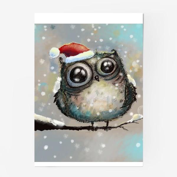 Постер «Новогодняя кофейная сова»