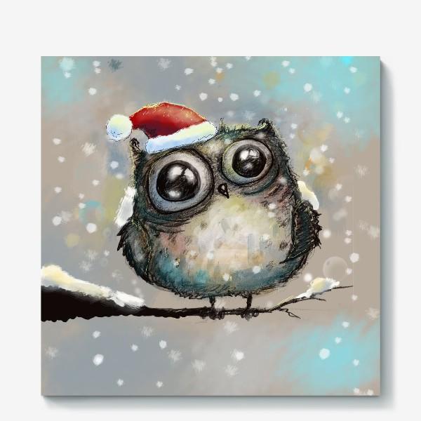 Холст «Новогодняя кофейная сова»