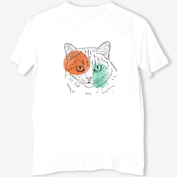Футболка «Акварельная кошка. Оранжевый и бирюзовый»