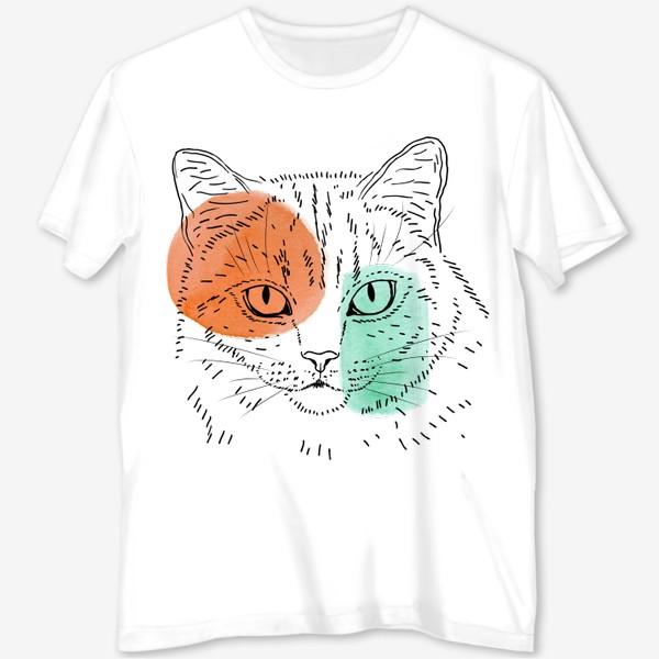 Футболка с полной запечаткой «Акварельная кошка. Оранжевый и бирюзовый»