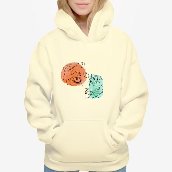 Худи «Акварельная кошка. Оранжевый и бирюзовый»