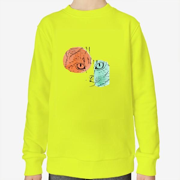 Свитшот «Акварельная кошка. Оранжевый и бирюзовый»