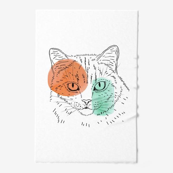 Полотенце «Акварельная кошка. Оранжевый и бирюзовый»