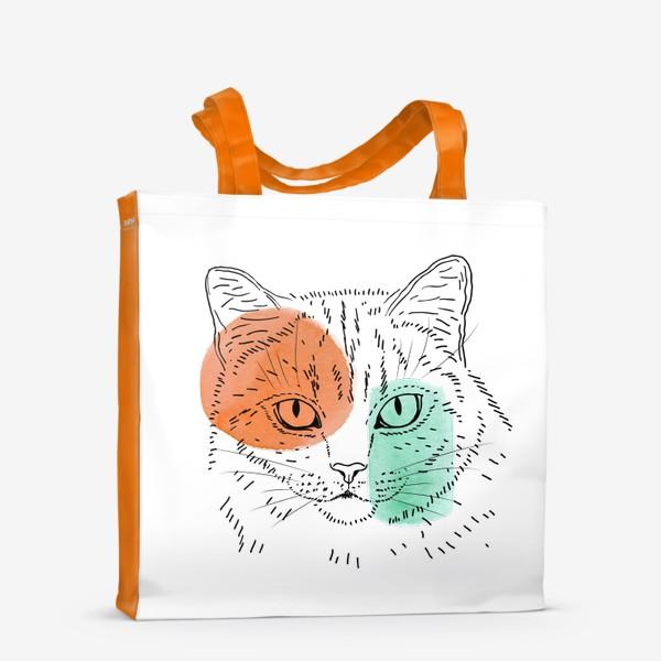 Сумка-шоппер «Акварельная кошка. Оранжевый и бирюзовый»