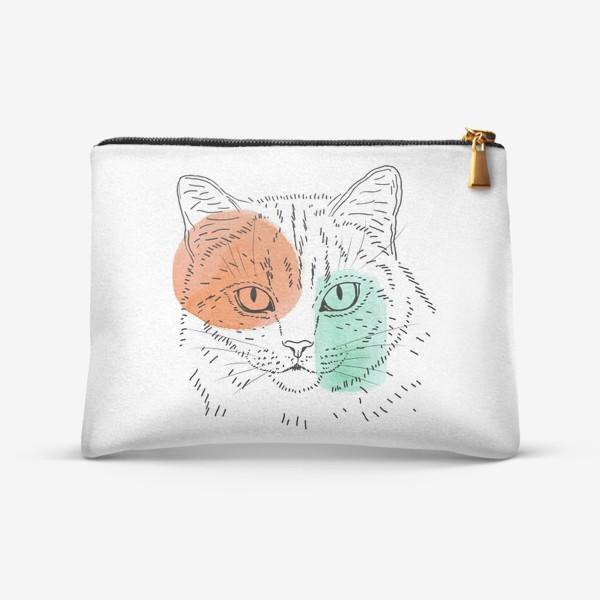 Косметичка «Акварельная кошка. Оранжевый и бирюзовый»