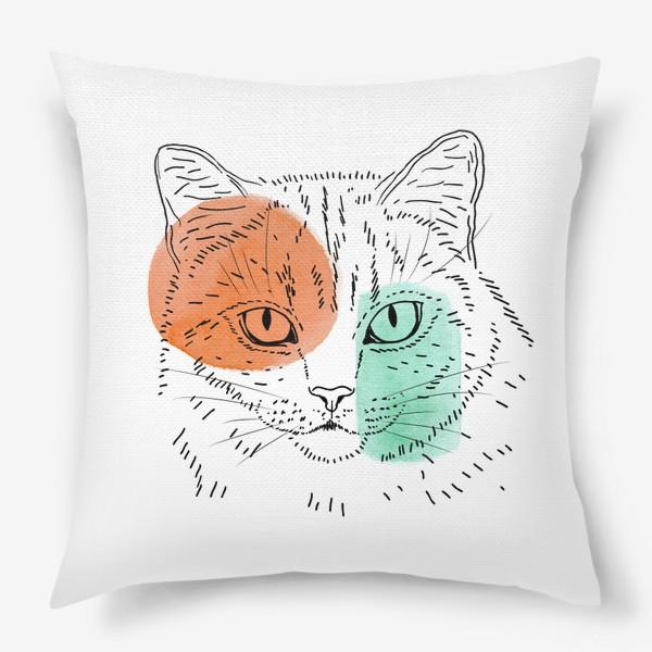 Подушка «Акварельная кошка. Оранжевый и бирюзовый»