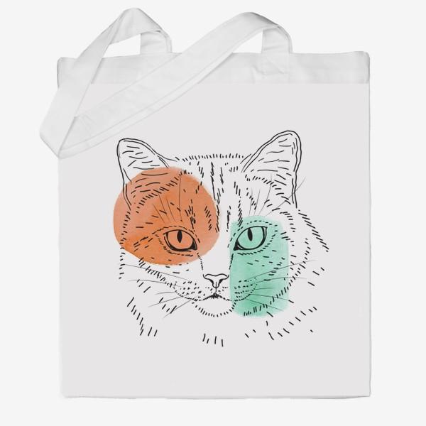 Сумка хб «Акварельная кошка. Оранжевый и бирюзовый»