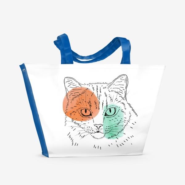 Пляжная сумка «Акварельная кошка. Оранжевый и бирюзовый»