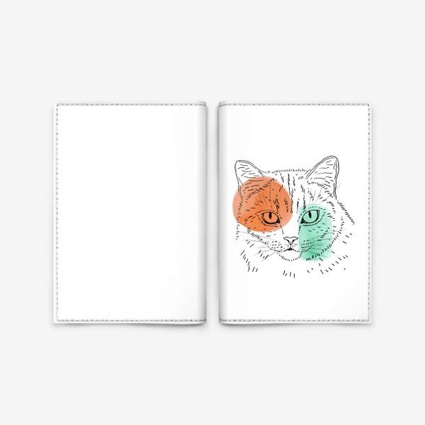 Обложка для паспорта «Акварельная кошка. Оранжевый и бирюзовый»