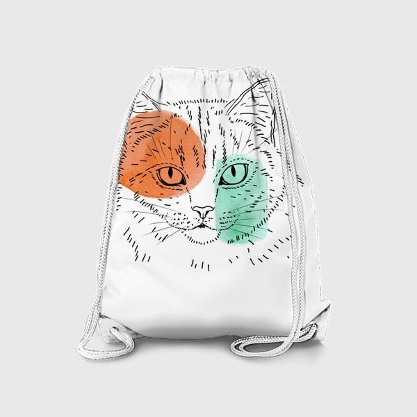 Рюкзак «Акварельная кошка. Оранжевый и бирюзовый»