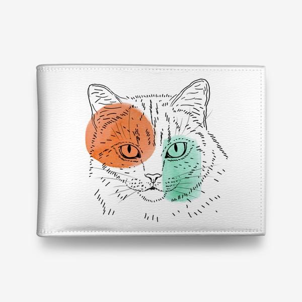 Кошелек «Акварельная кошка. Оранжевый и бирюзовый»