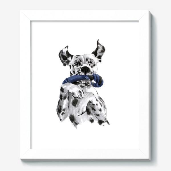 Картина «Портрет собаки породы далматинец с игрушкой»