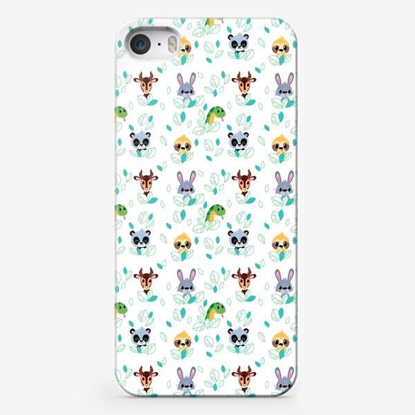 Чехол iPhone «Бесшовный паттерн. Мультяшные Зайцы, Газели, змеи и ленивцы.»