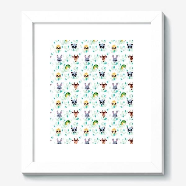 Картина «Бесшовный паттерн. Мультяшные Зайцы, Газели, змеи и ленивцы.»