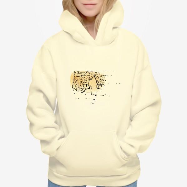 Худи «Акварельная кошка. Бежевая акварель»