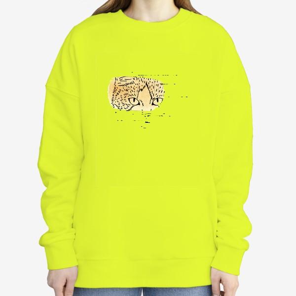 Свитшот «Акварельная кошка. Бежевая акварель»