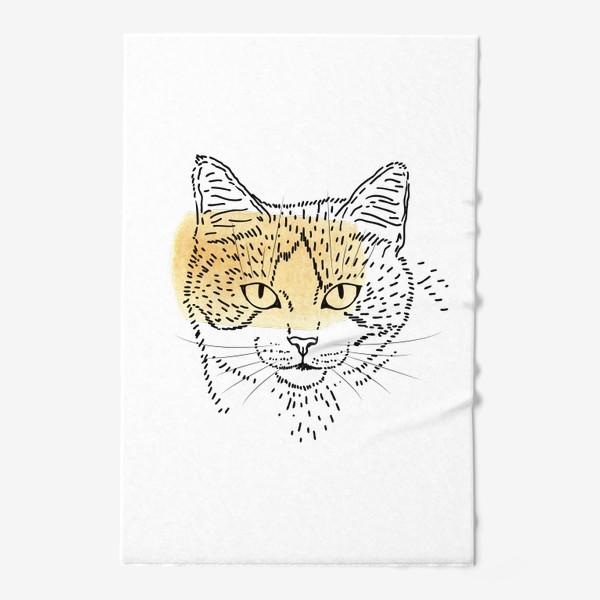 Полотенце «Акварельная кошка. Бежевая акварель»