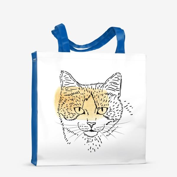 Сумка-шоппер «Акварельная кошка. Бежевая акварель»