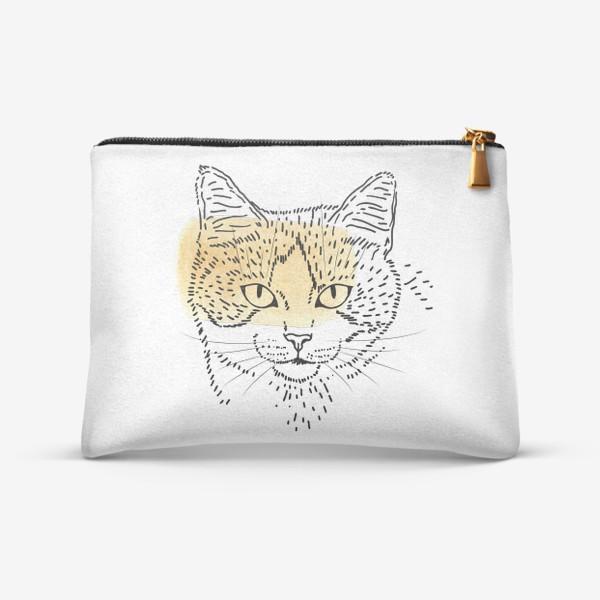 Косметичка «Акварельная кошка. Бежевая акварель»