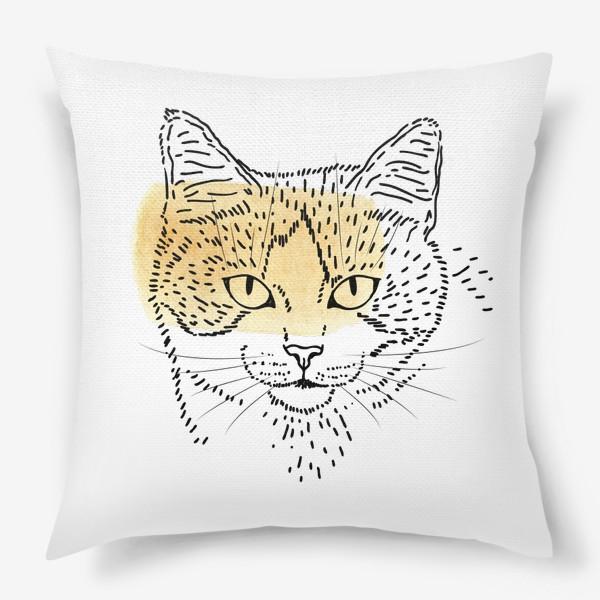 Подушка «Акварельная кошка. Бежевая акварель»