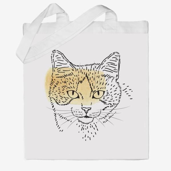 Сумка хб «Акварельная кошка. Бежевая акварель»